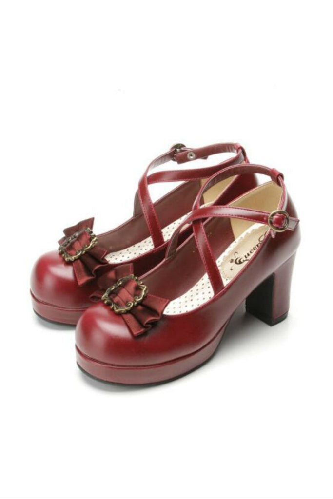 College Burgundy Block Heels