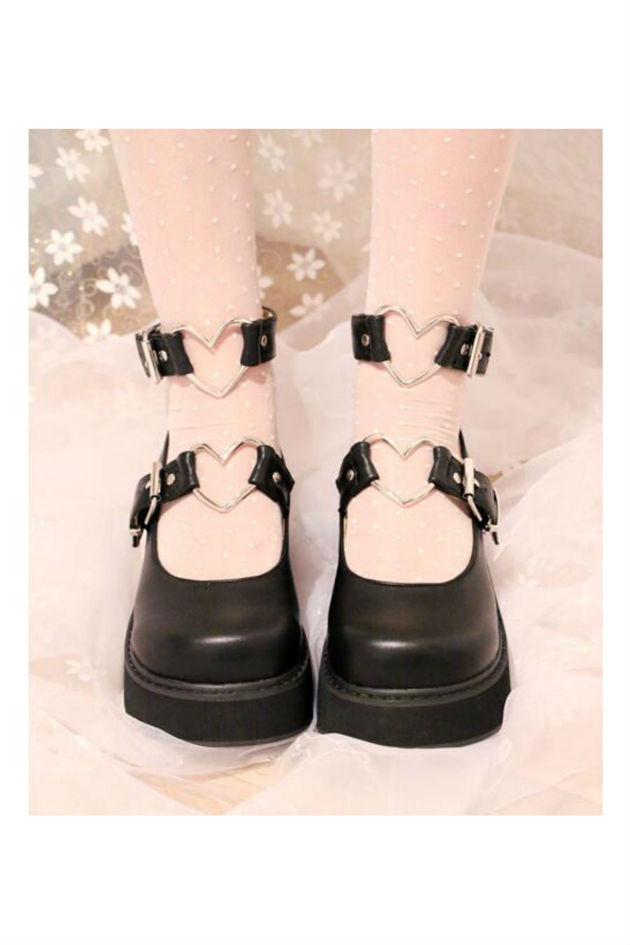 Metal Heart Lolita Shoes