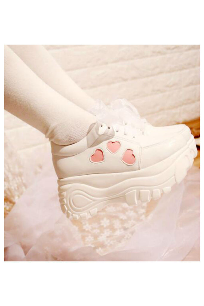 Cute Pink Heart Platform Shoes In White