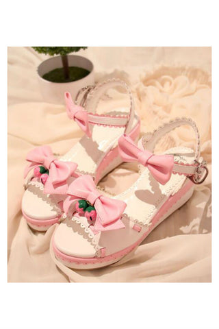 Lolita Cute Bowknot Bell Sandal In White