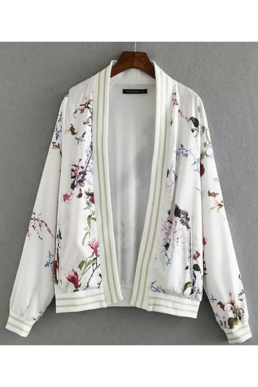 Peacock Floral Print Bomber Jacket