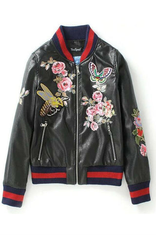 Black Butterfly Floral Embroidery Leather Bomber Jacket