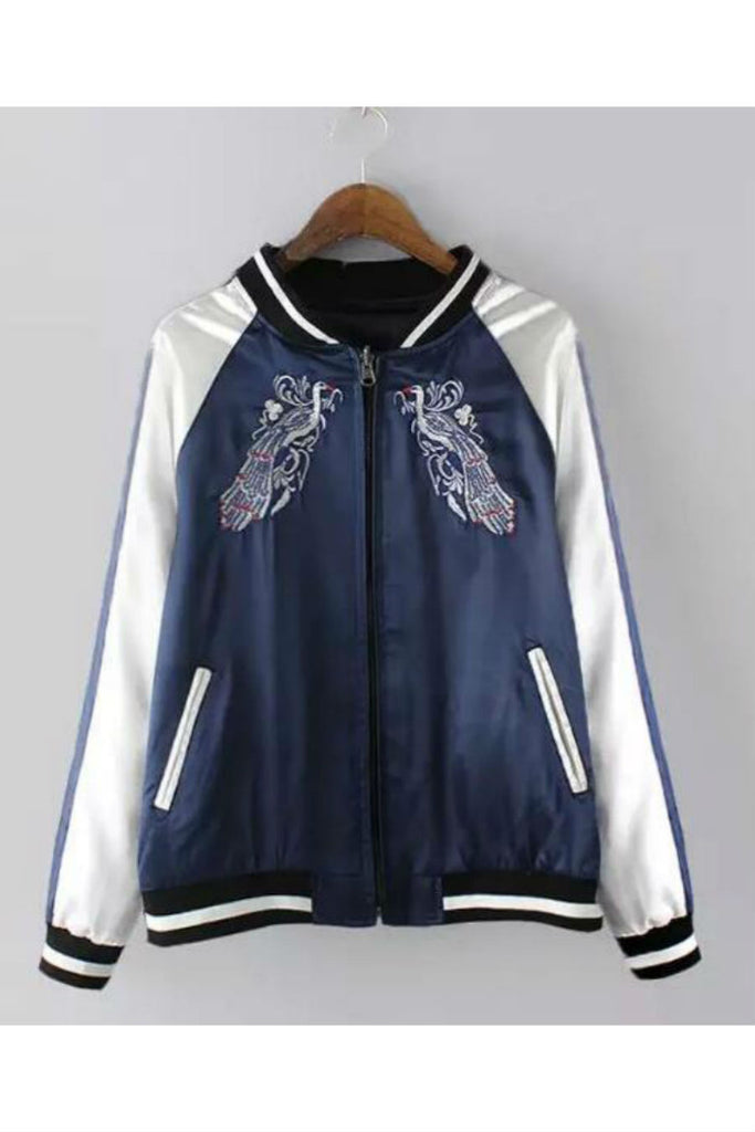 Navy Phoenix Embroidery Bomber Jacket
