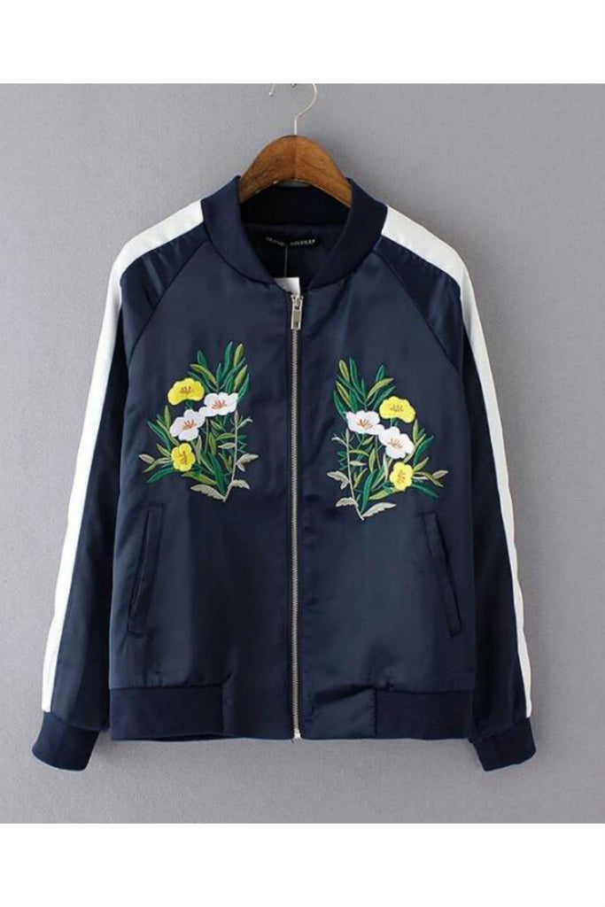 Navy Flower Embroidery Bomber Jacket