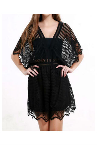 Black Lace Hollow Romper