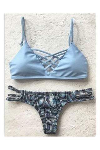 Blue Print Cut Out Bikini Set