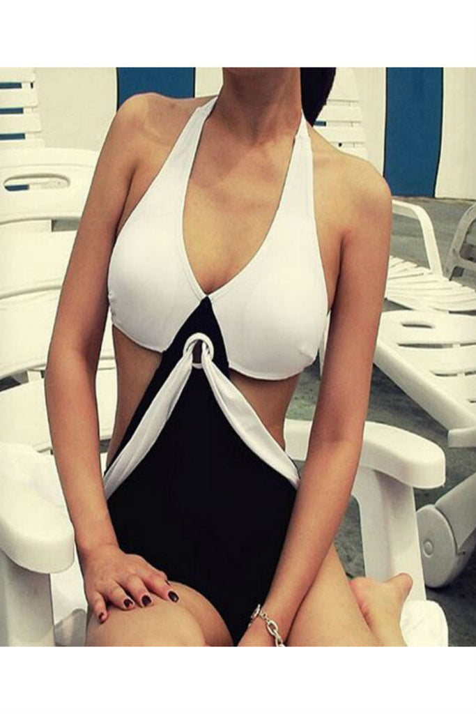 Black White Mix One Piece Swimwear