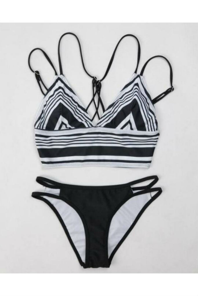 Black White Stripes Printed Bikini Set