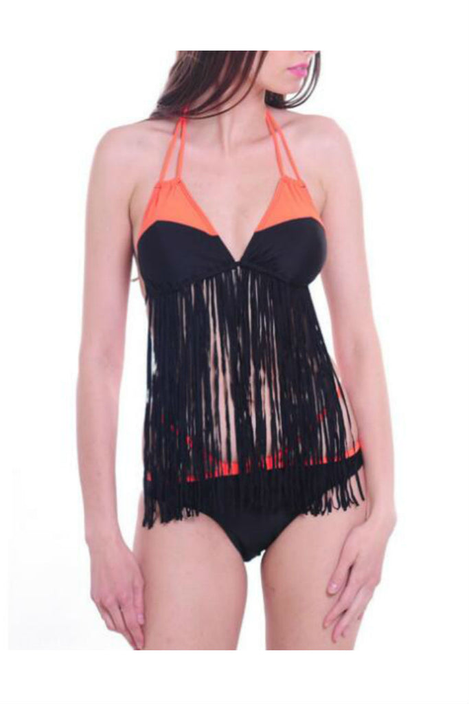 Orange Black Tassel Swimsuit
