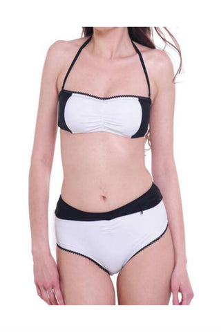 Black White Halter Swimsuit