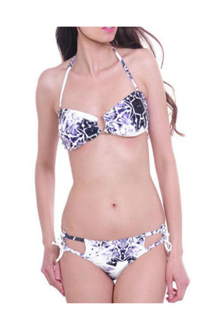 Gray White Pattern Print Bikini Set