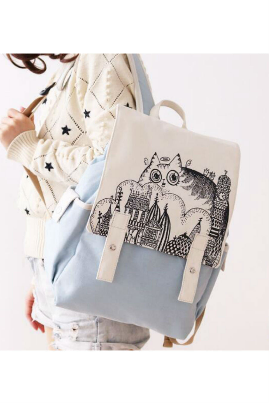 Retro Cat Pattern Travel Backpack