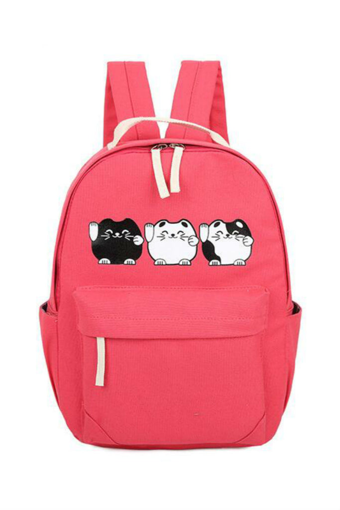 Lovely Cat Printed School Backpack In Red