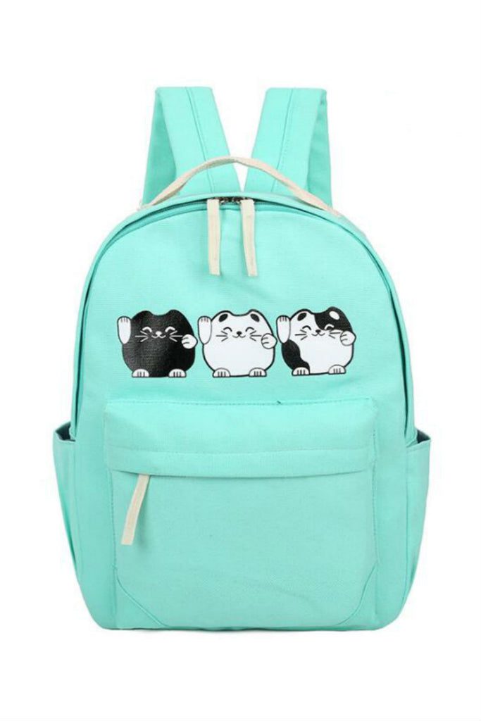 Lovely Cat Printed School Backpack In Mint
