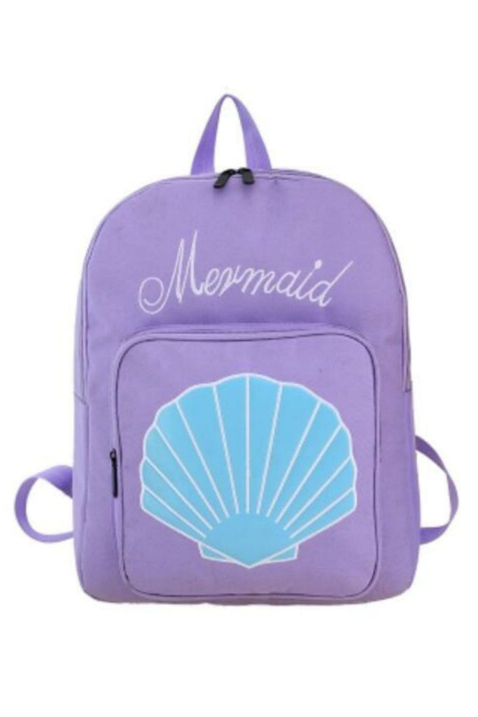 Harajuku Mermaid Sea Shell Embroidery Backpack In Lilac