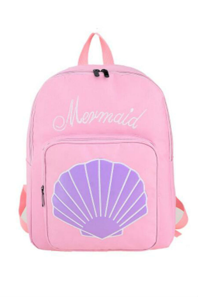 Harajuku Mermaid Sea Shell Embroidery Backpack In Pink