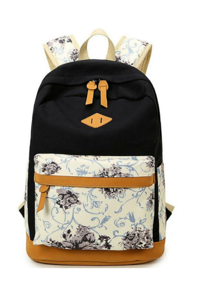Black Floral Travel Backpack