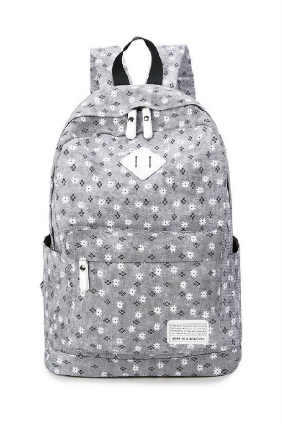 Gray Flower Travel Backpack