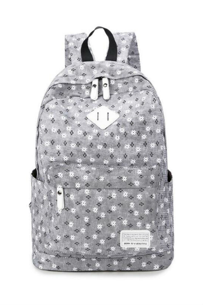 Sweet Gray Flower Travel Backpack