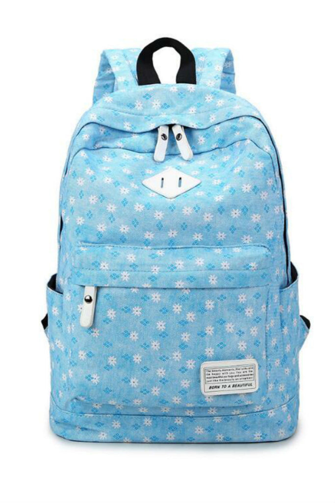Light Blue Print Travel Backpack