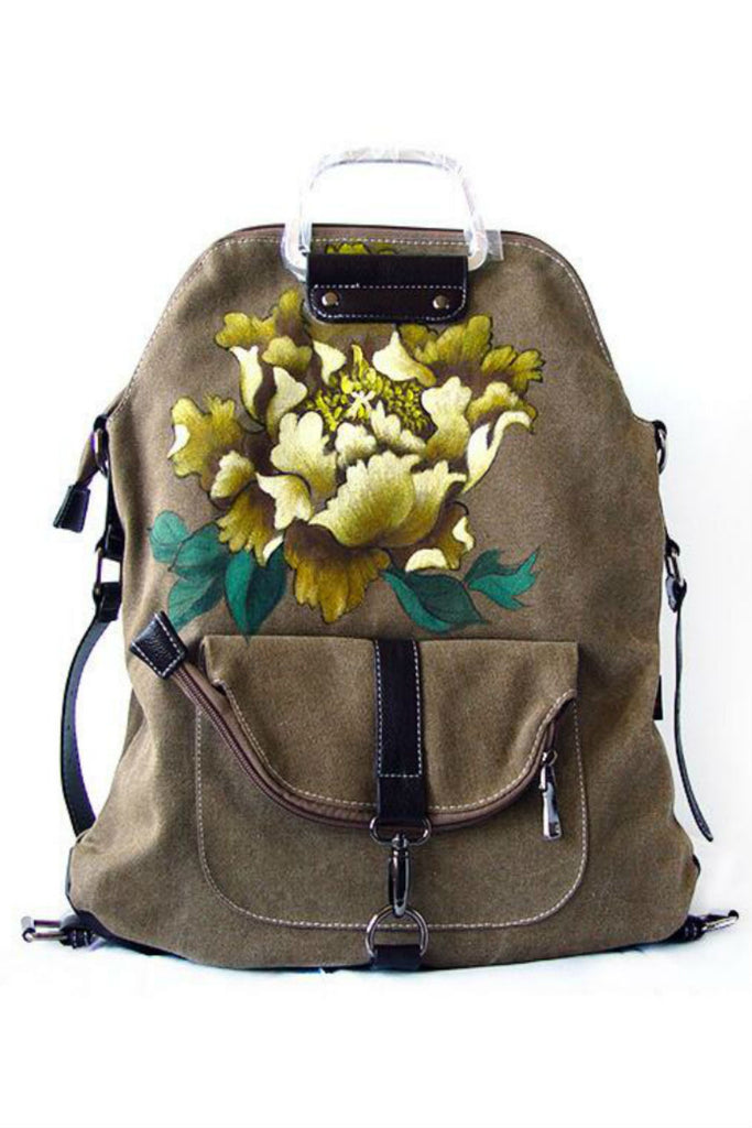 Ethnic Floral Travel Backpack In Tan