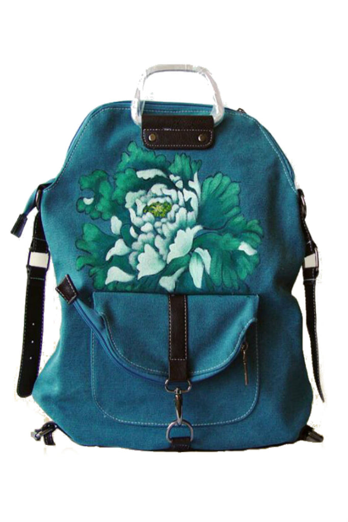 Ethnic Floral Travel Backpack In Blue