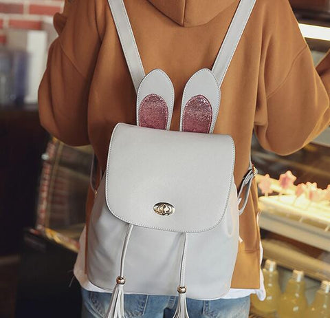 Cute Rabbit Ears Tassel Backpack