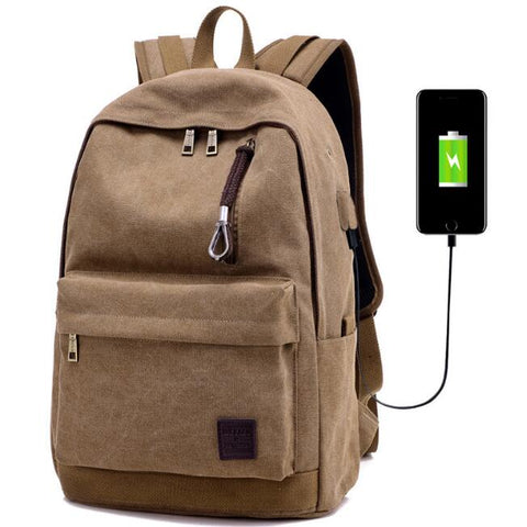 Canvas Laptop USB Backpack