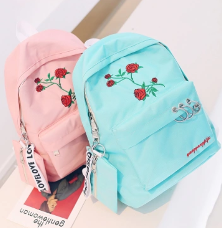 Black Rose Canvas Backpack