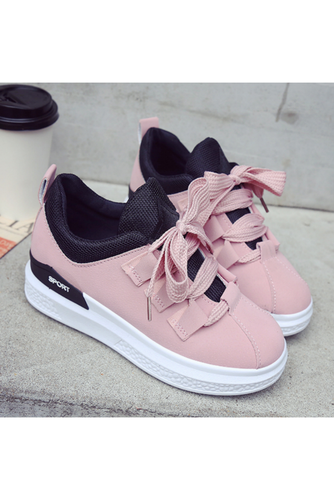 Platform Lace Up Pink Sneakers