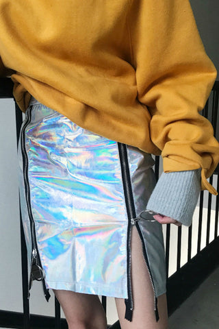 Hologram Zipper Long Skirt