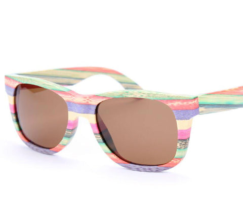 Rainbow Bamboo Retro Sunglasses