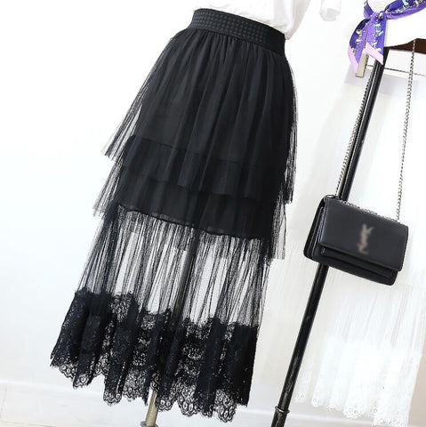 Black Lace Mesh Skirt