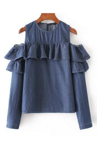 Cold Shoulder Ruffle Denim Blouse
