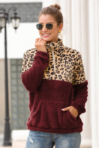 RED BURGUNDY HALF ZIP LEOPARD PRINT SWEATER PULLOVER
