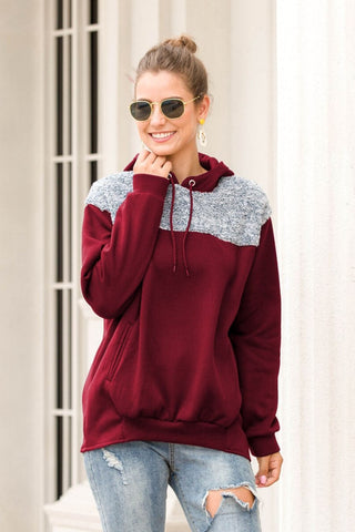 Red Hooded Drawstring Casual Sweater