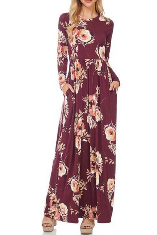 Floral Red Boho Maxi Dress