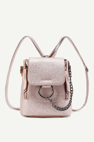Chain Detail Metallic Backpack