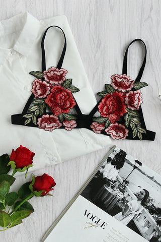 Rose Applique Fishnet Bralette