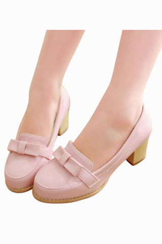 Cute Bow Shoes In Pink