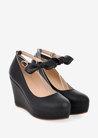 Cute Bowknot Black Wedges
