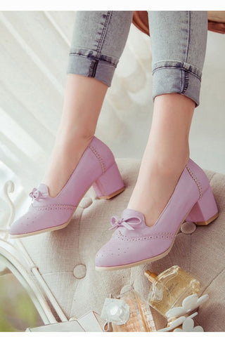 Vintage Lilac Round Toe Bows Heeled Shoes
