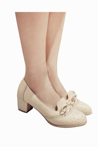 Vintage Beige Round Toe Bows Heeled Shoes