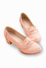 Vintage Pastel Pink Round Toe Bows Heeled Shoes