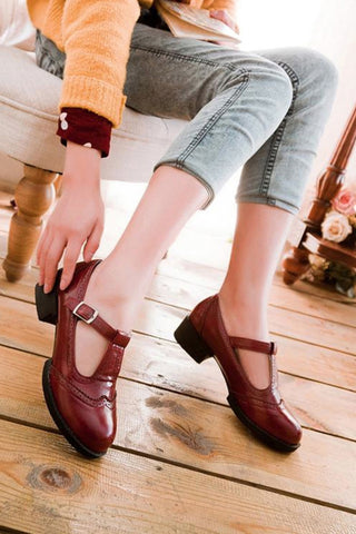 Burgundy T-strap Brogue Shoes