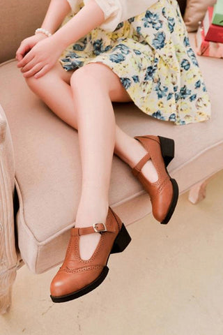 Brown T-strap Brogue Shoes