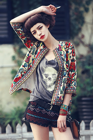 Multicolor Three Quarter Sleeve Jacket With Etnic Print