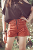 Embroidered Lace Up Shorts