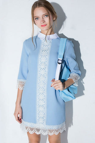 Cute Pastel Blue Doll Collar Lace Stitching Dress