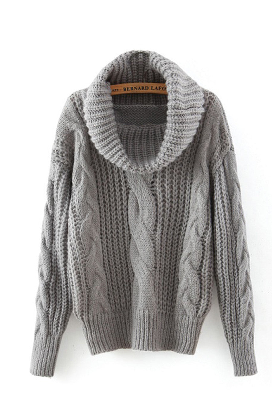 Gray High Neck Knit Sweater